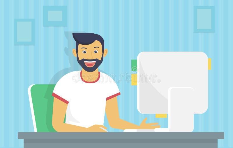 O homem está trabalhando com computador ilustração stock