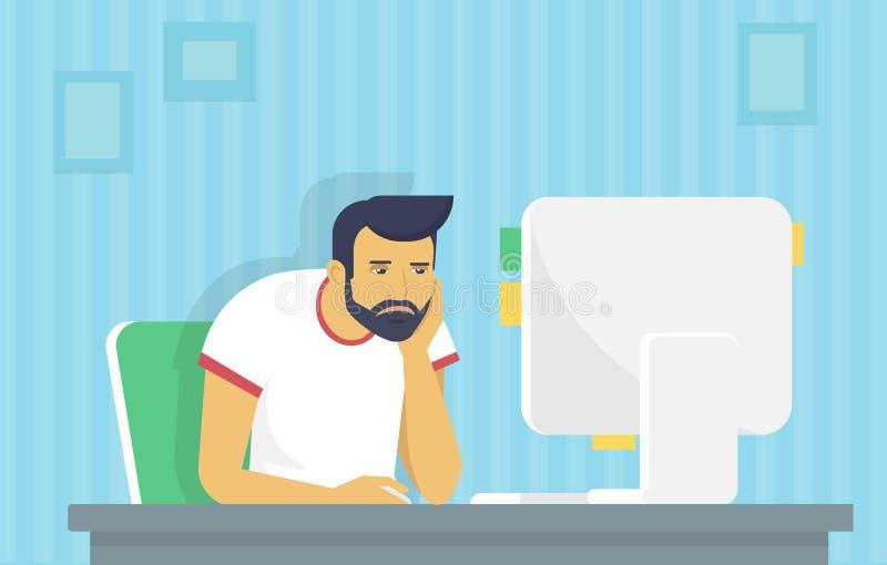 O homem está trabalhando com computador ilustração royalty free