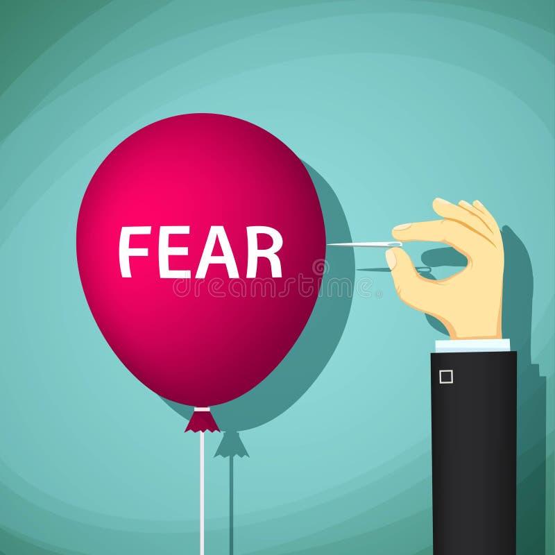 O homem estoura um balão com o medo da palavra Illustrati conservado em estoque ilustração stock
