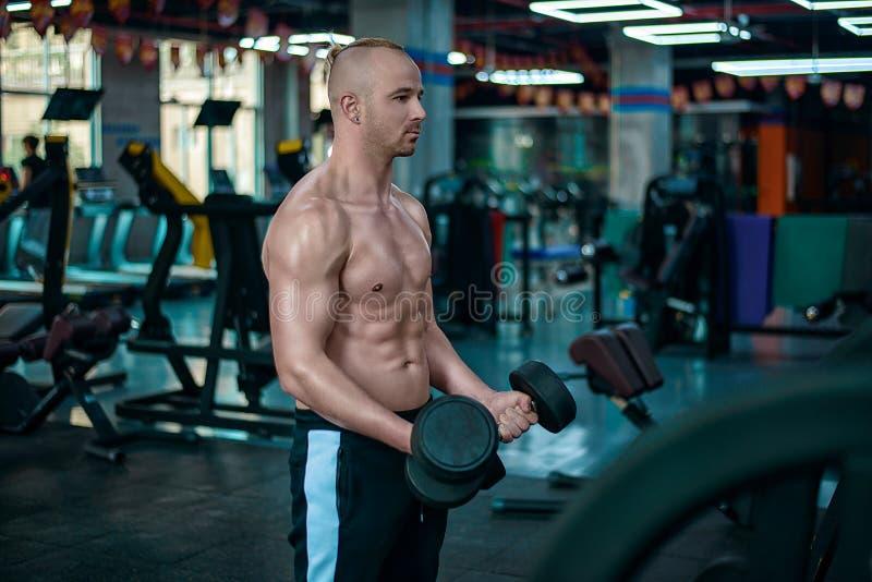 O homem europeu faz o exercício para o bíceps com os pesos imagens de stock