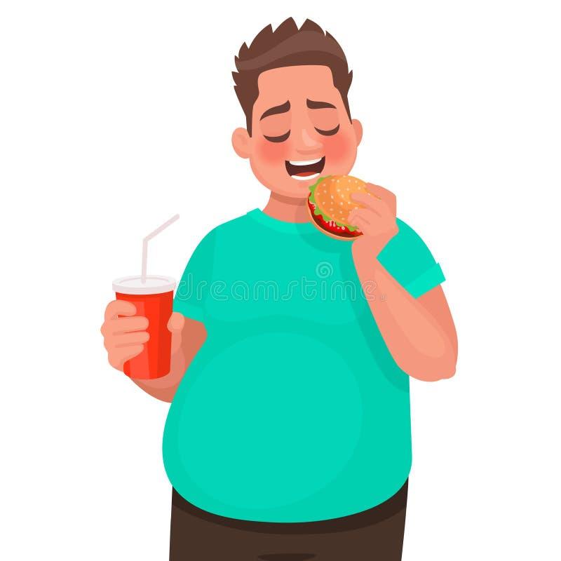 O homem excesso de peso come o fast food Conceito do alimento impróprio e do estilo de vida insalubre ilustração stock