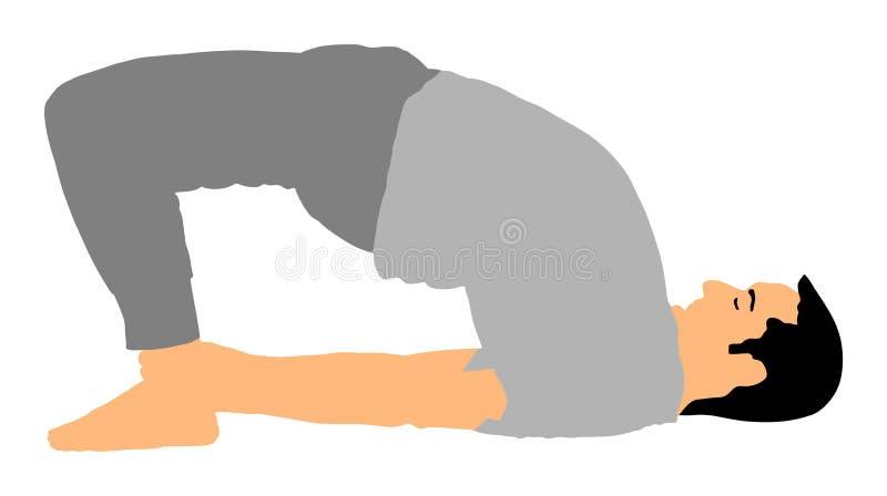O homem exercita a ioga Menino ativo no gym que estica e que worming acima Oração muçulmana do homem na mesquita ilustração do vetor