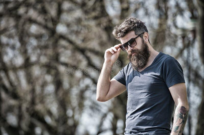 O homem farpado decola óculos de sol no dia ensolarado Conceito da masculinidade O homem com barba longa olha à moda e seguro Hom fotos de stock