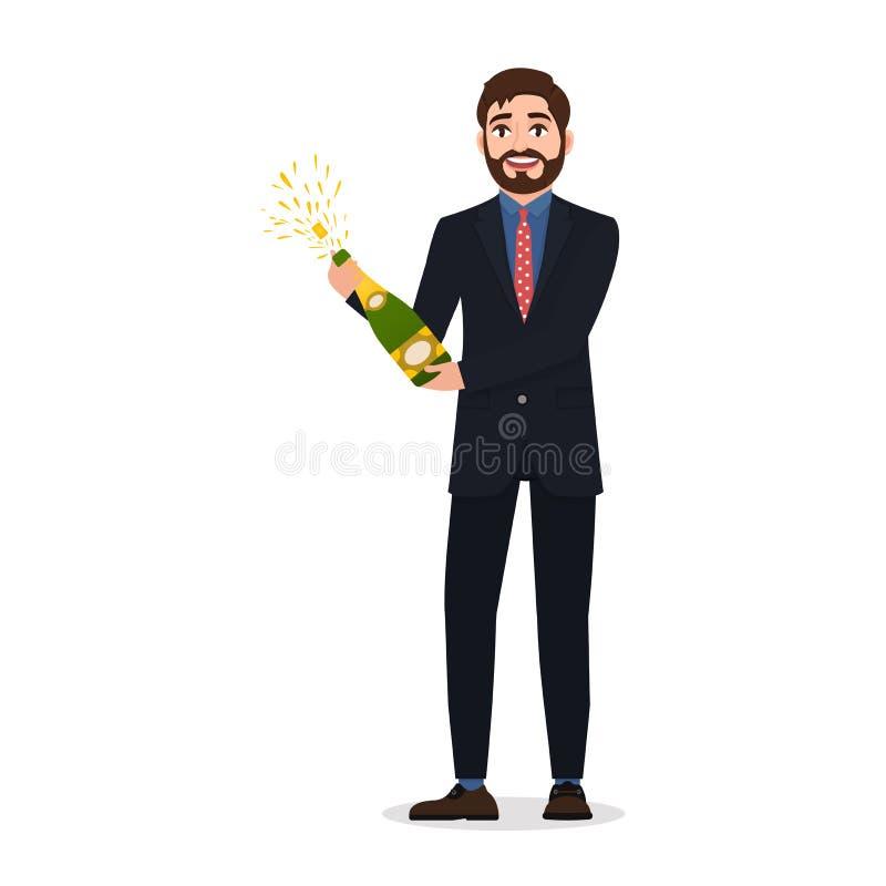 O homem farpado feliz abre o champanhe, caráter ilustração do vetor