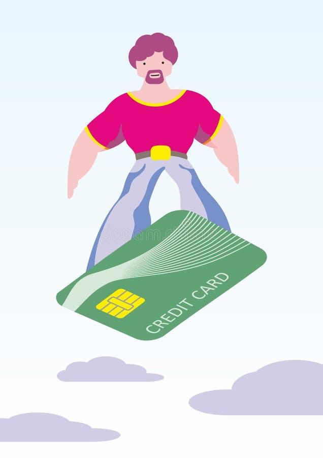 O homem faz a compra facilmente Surfando em um cartão de crédito, concentração conveniente do pagamento Prazer da compra foto de stock royalty free