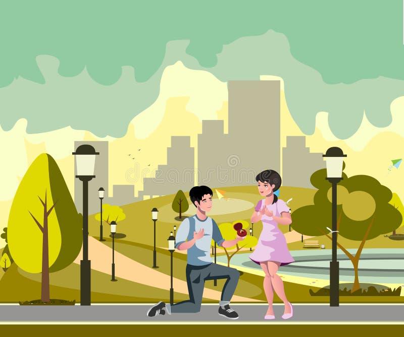O homem faz a oferta à menina ilustração stock