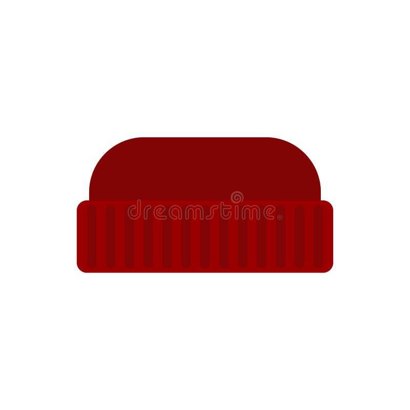 O homem feito malha vermelho do chapéu isolou-se Tampão de Winter do lenhador ilustração stock