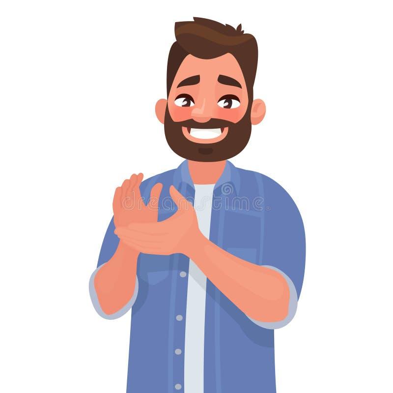 O homem feliz aplaude suas mãos Gesto da admiração bravo Felicitações ilustração stock