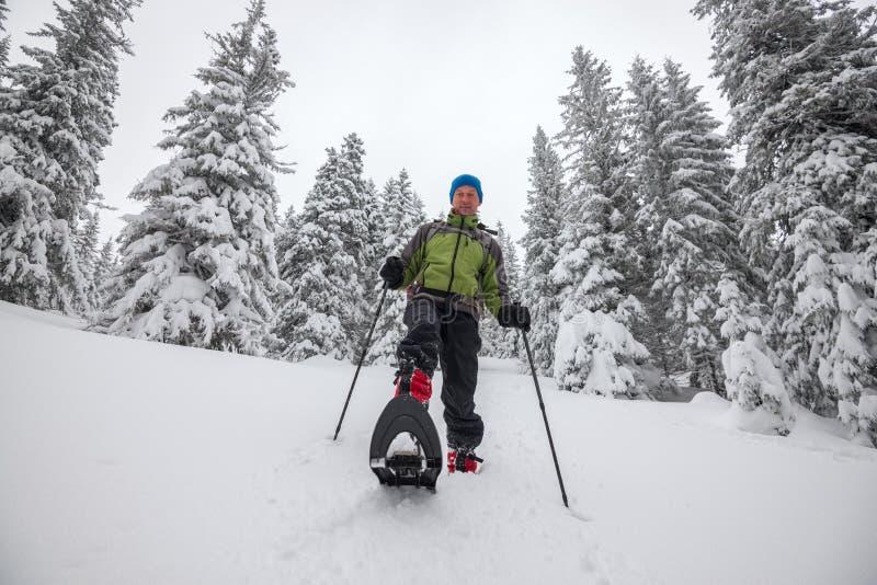 O homem feliz vai em sapatos de neve abaixo do monte fotografia de stock royalty free