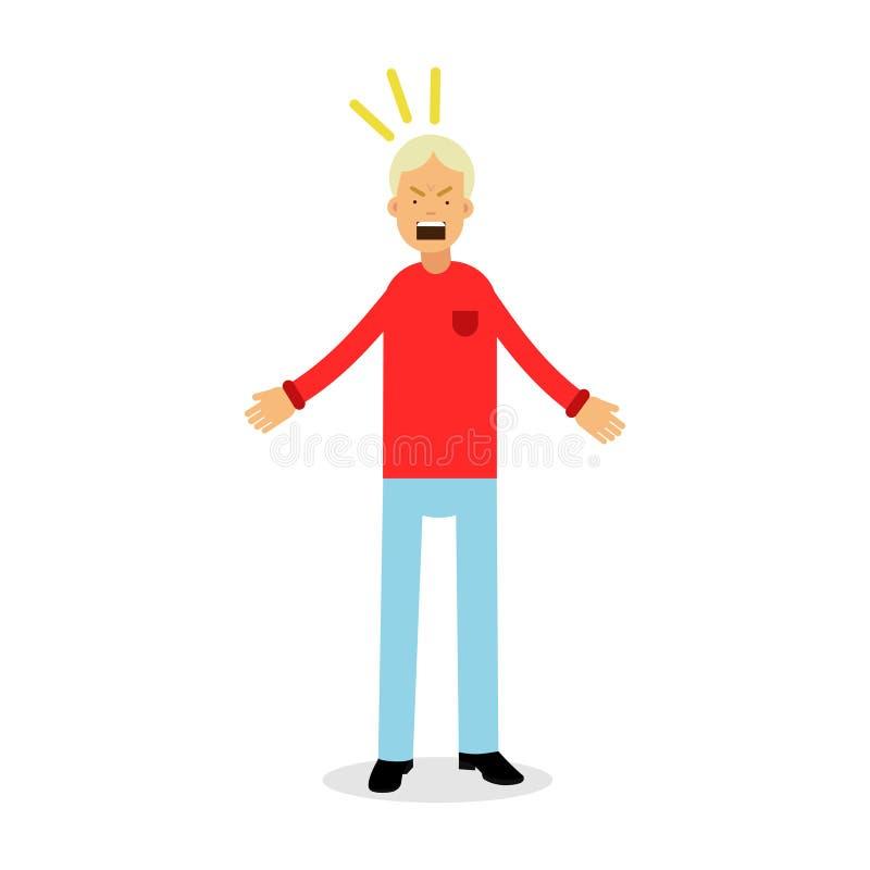 O homem furioso e frustrante que grita com raiva, virou a ilustração forçada do vetor do homem ilustração do vetor