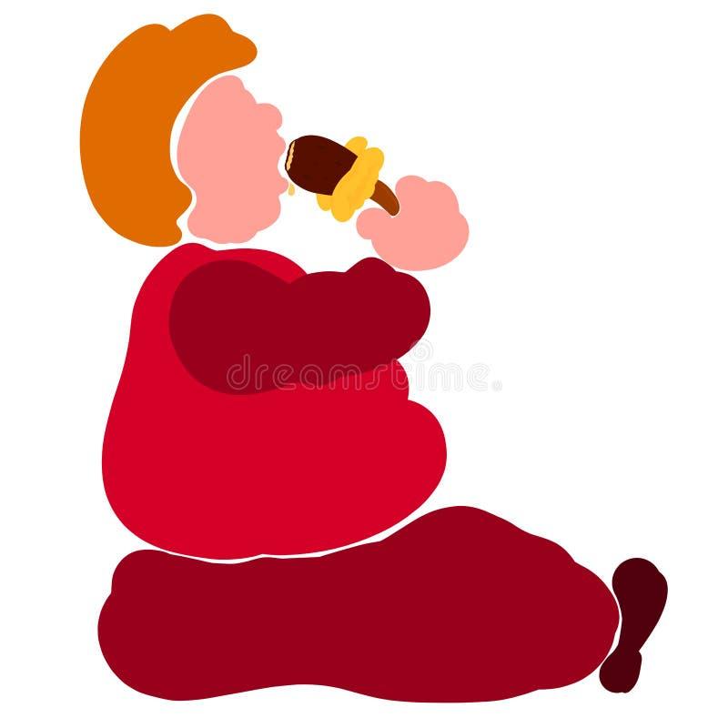 O homem gordo assentado com um apetite come o gelado ilustração stock