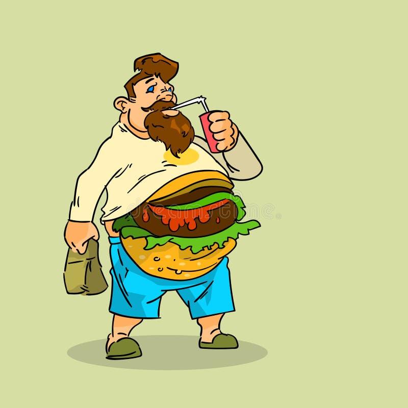 O homem gordo come o conceito insalubre do fast food da sucata do refresco da soda do sanduíche do hamburguer ilustração royalty free