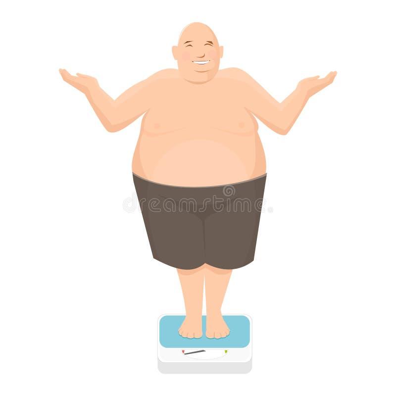 O homem gordo está na escala de banheiro fotografia de stock