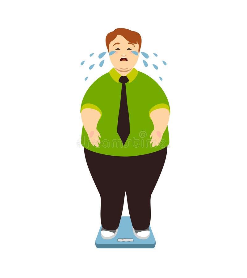 O homem gordo grita nas escalas Ilustração do vetor ilustração royalty free