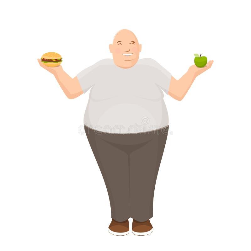 O homem gordo guarda a maçã e o hamburguer em suas mãos foto de stock royalty free