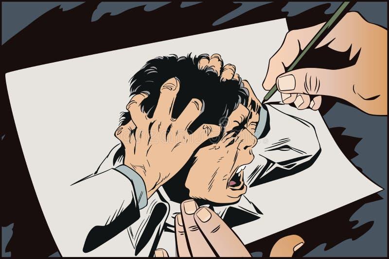 O homem grita no horror Ilustração conservada em estoque ilustração stock