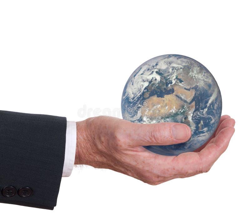 O homem guarda o mundo, a terra Mostra de Europa, África, imagem de stock