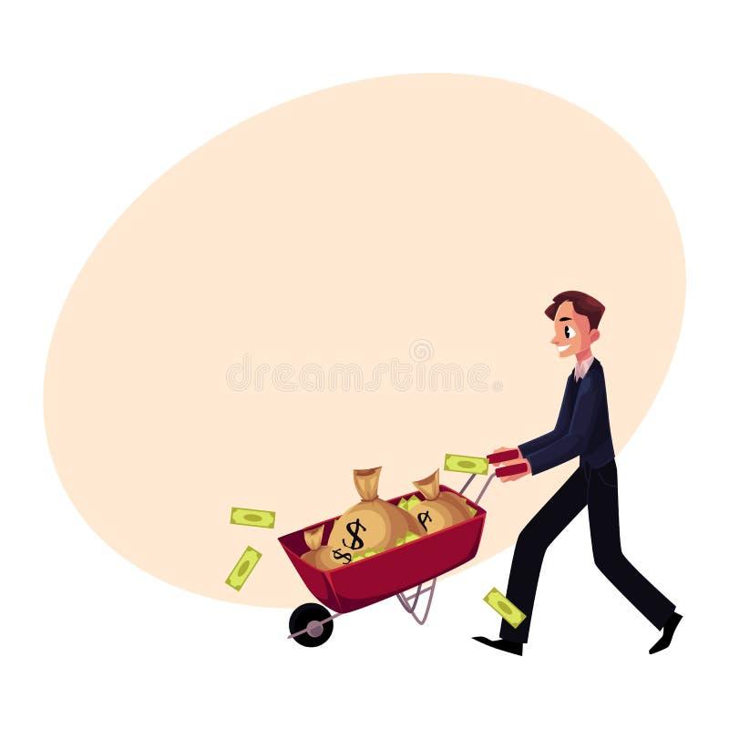 O homem, homem de negócios que empurra o carrinho de mão completamente do dinheiro ensaca, cédulas perdedoras ilustração do vetor