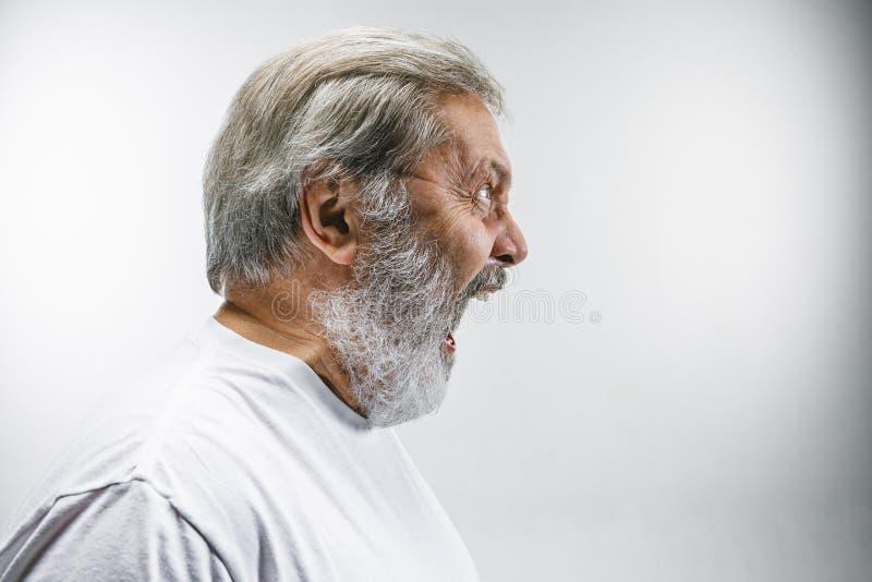 O homem irritado emocional superior que grita no fundo branco do estúdio foto de stock
