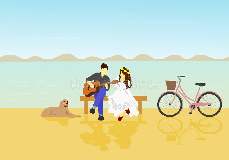 O homem jogava a guitarra para que a mulher branca escute Há cães e bicicletas ao lado ilustração do vetor