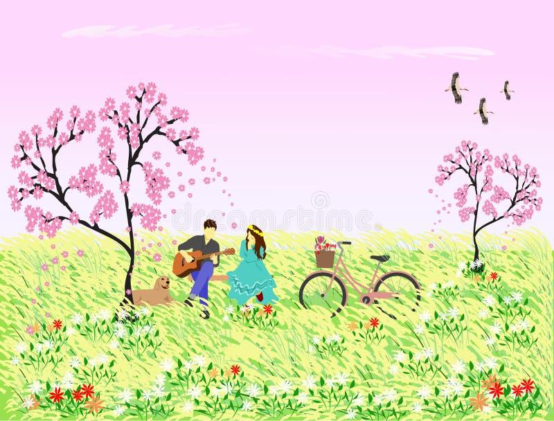 O homem jogava a guitarra para que a mulher escute sob a árvore cor-de-rosa da flor H? c?es e bicicletas ao lado ilustração do vetor