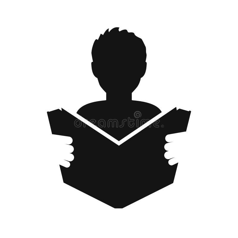 O homem leu um ícone simples do livro r Ícone manual da instrução - vetor conservado em estoque ilustração stock