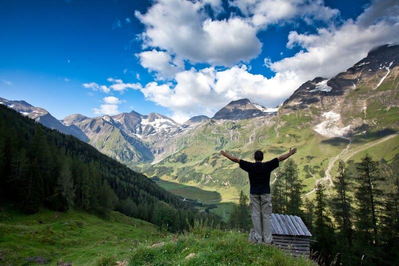 O homem levanta seus braços na vitória fotografia de stock