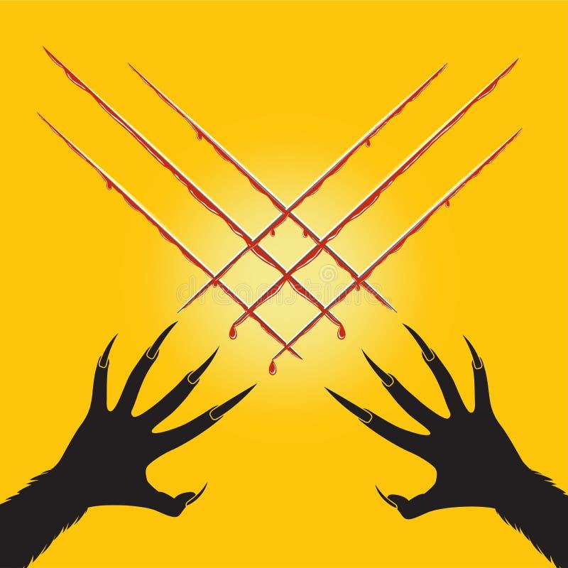 O homem-lobo da mão cortou a forma de x e o sangue transversais, Dia das Bruxas ilustração royalty free