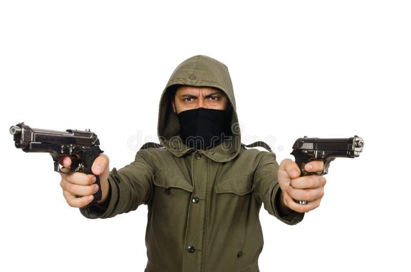 O homem mascarado no conceito criminoso imagens de stock