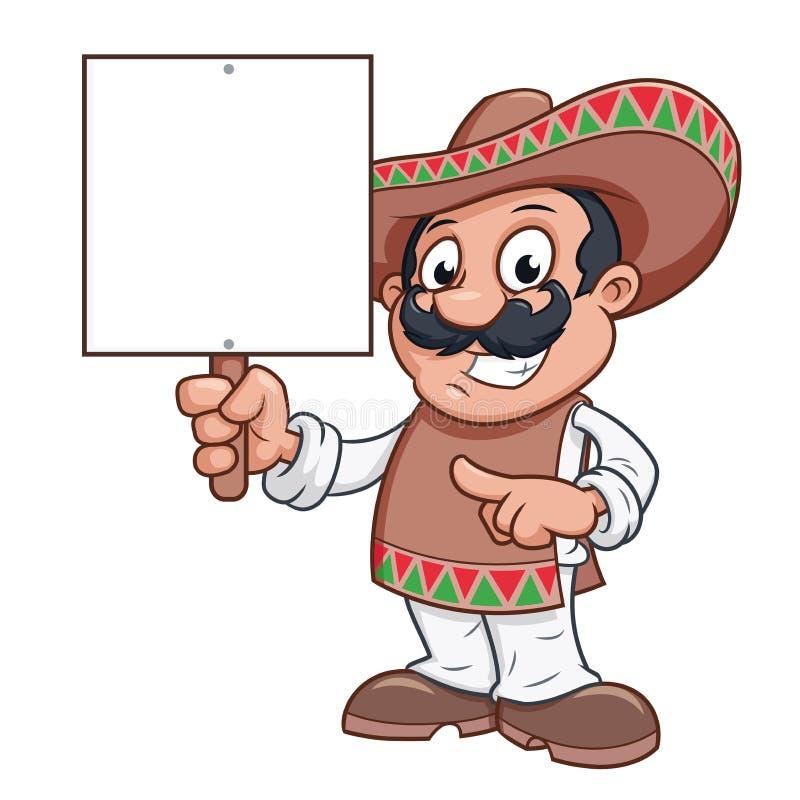 O homem mexicano está guardando um quadro de avisos vazio ilustração royalty free