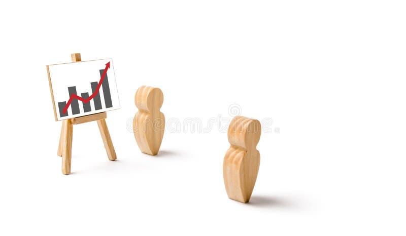 O homem mostra a apresentação ao empregado Reunião ou relatório para o período passado Analítica e planeamento da estratégia lucr imagens de stock