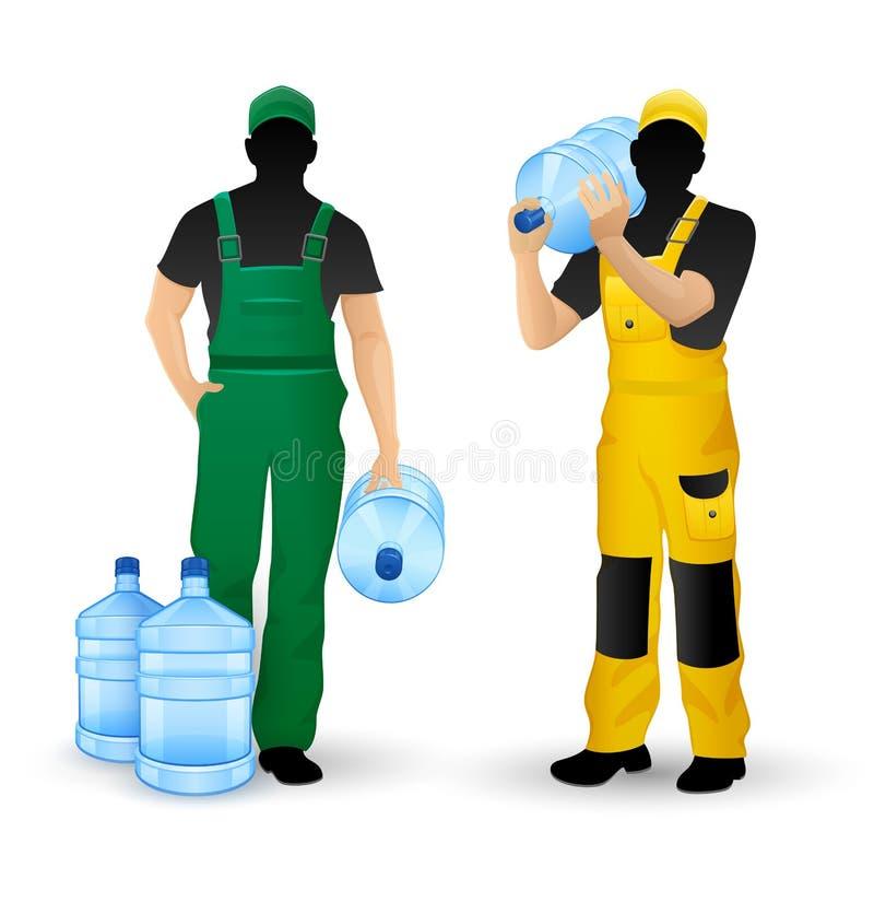 O homem mostra em silhueta a entrega dos homens de funcionamento da água potável ilustração stock