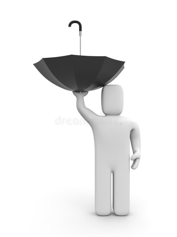 O homem não sabe usar o guarda-chuva ilustração stock