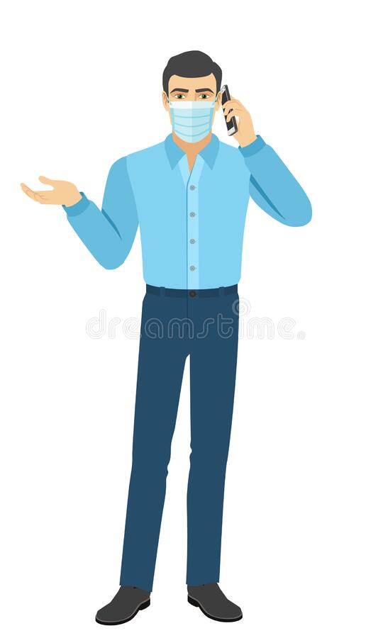 O homem na camisa a gestar e a falar no telefone celular Retrato completo do homem em estilo plano ilustração royalty free