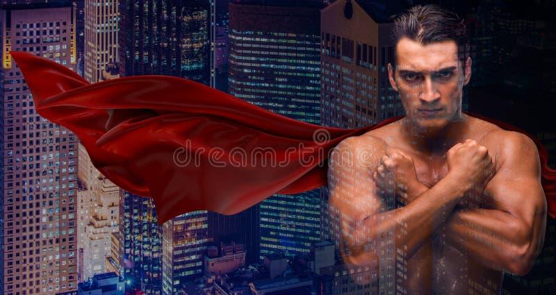 O homem na cidade de proteção da tampa vermelha imagem de stock royalty free