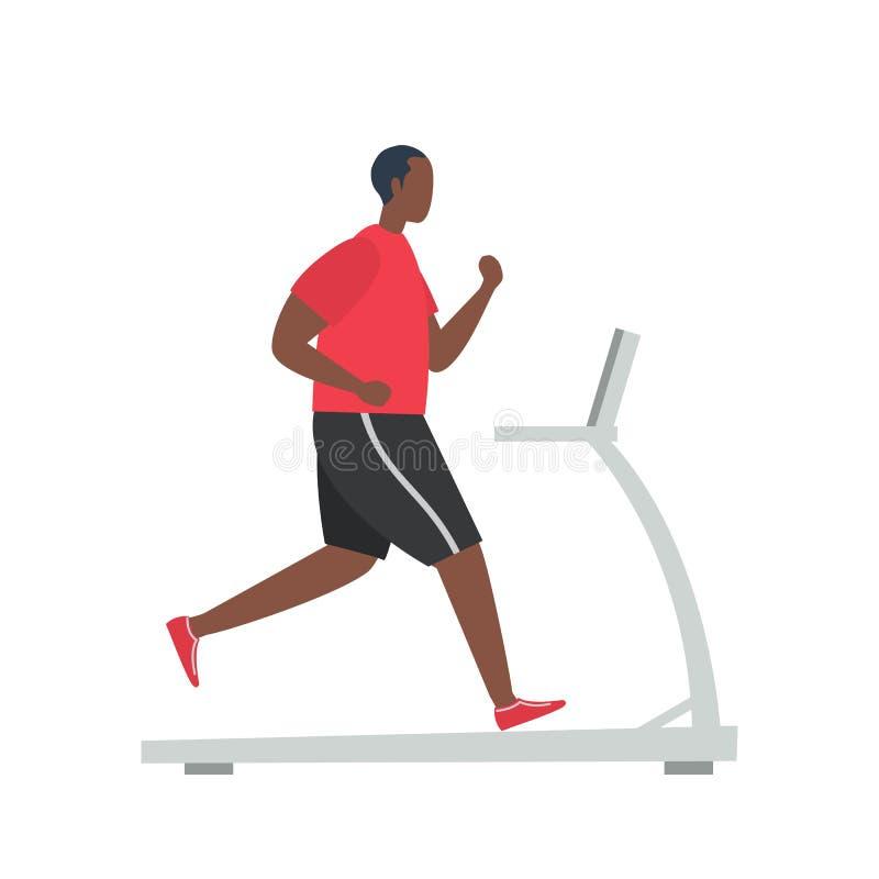O homem negro novo em um uniforme desportivo está correndo em uma escada rolante ilustração royalty free