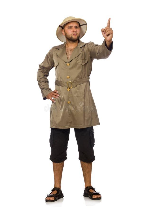 O homem no chapéu do safari isolado no branco imagens de stock royalty free