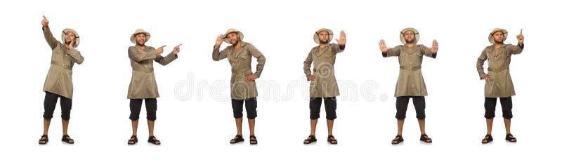 O homem no chap?u do safari isolado no branco fotos de stock