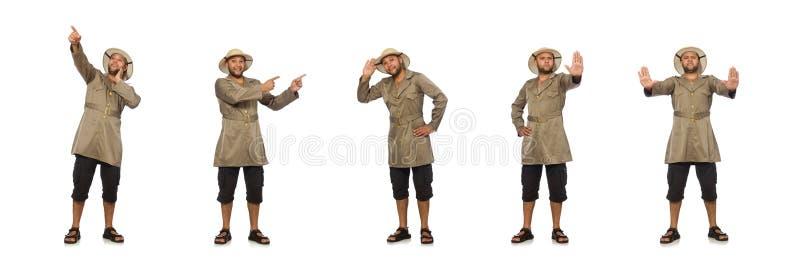O homem no chap?u do safari isolado no branco fotografia de stock