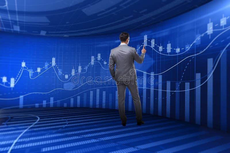 O homem no conceito de troca da bolsa de valores ilustração royalty free
