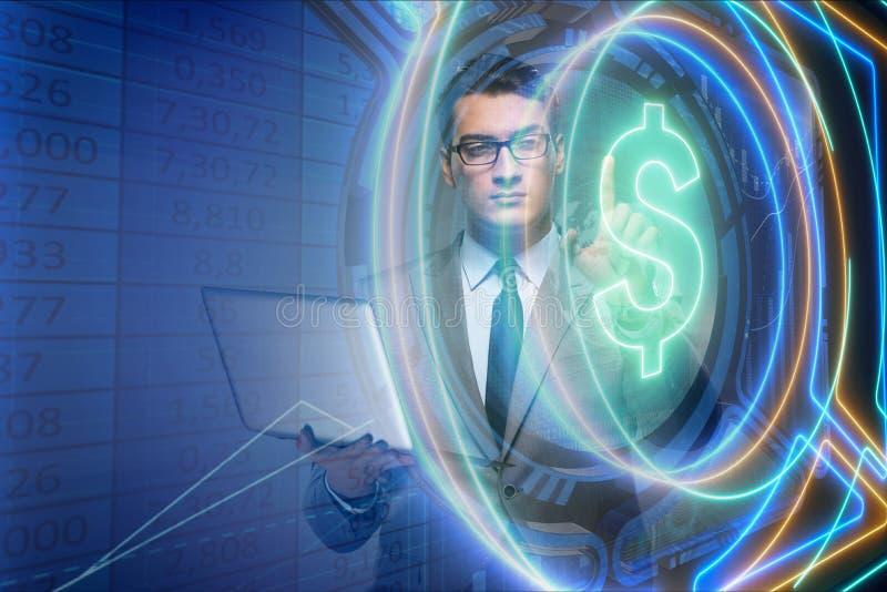 O homem no conceito em linha da troca de moeda ilustração do vetor