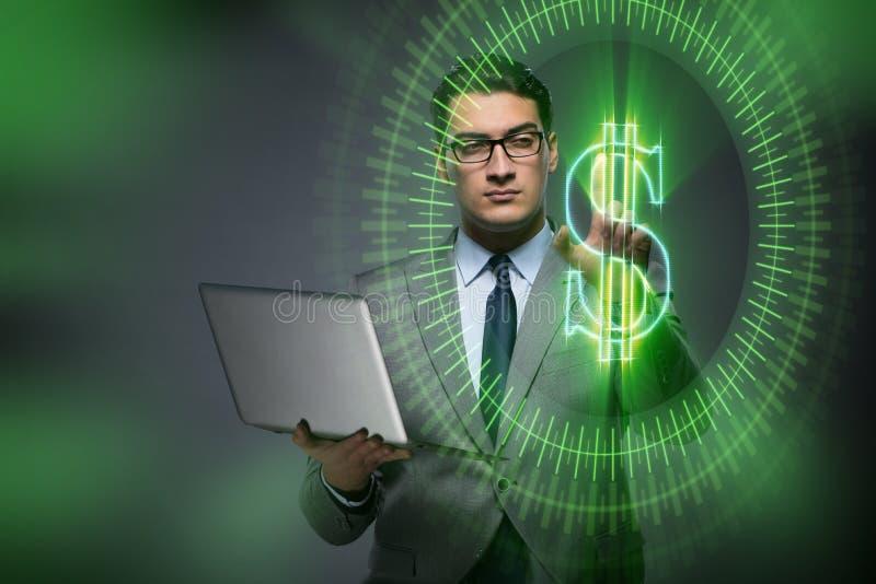 O homem no conceito em linha da troca de moeda fotos de stock