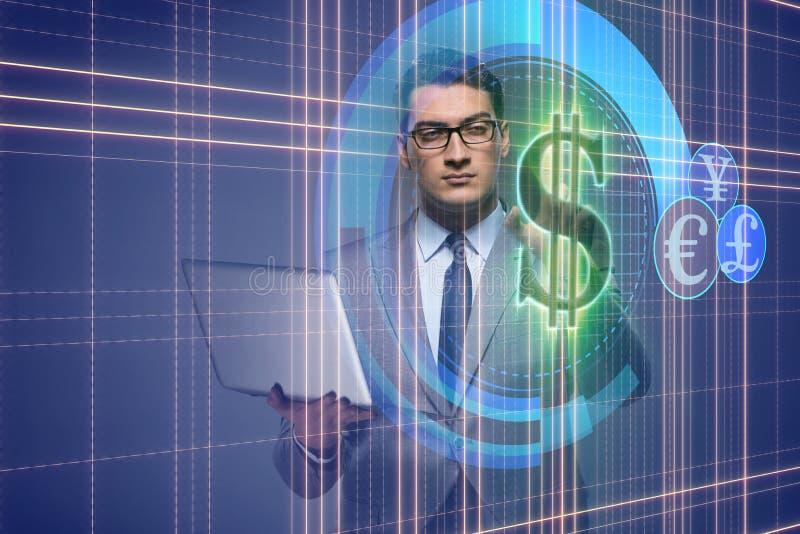 O homem no conceito em linha da troca de moeda ilustração stock