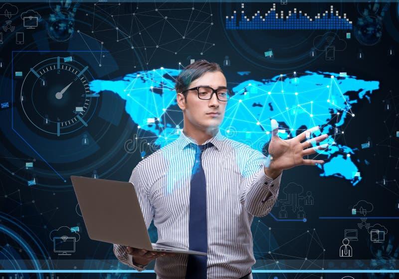 O homem no conceito social da gestão de dados ilustração royalty free