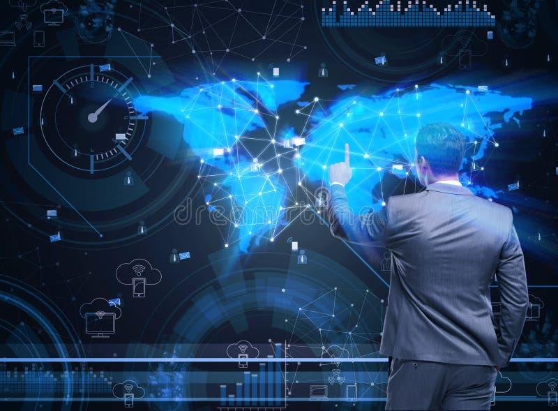 O homem no conceito social da gestão de dados ilustração stock