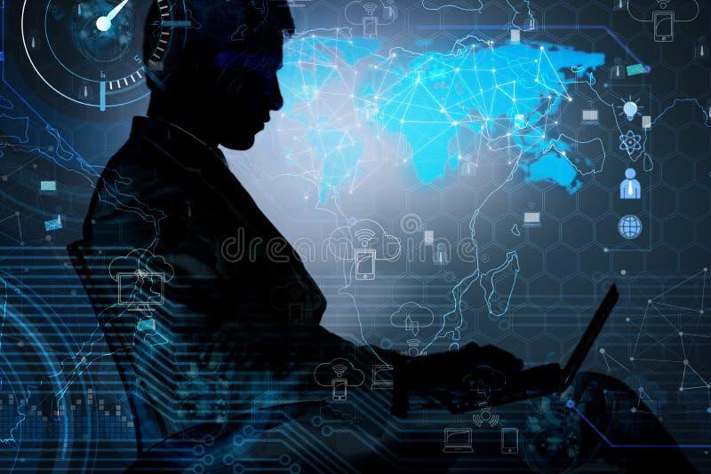 O homem no conceito social da gestão de dados ilustração do vetor