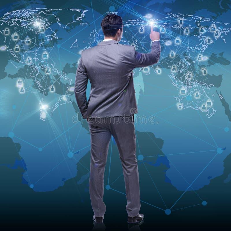 O homem no conceito social das redes ilustração royalty free