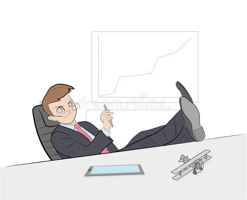 O homem no local de trabalho senta-se jogando seus pés na tabela Resto no trabalho Ilustração do vetor ilustração royalty free