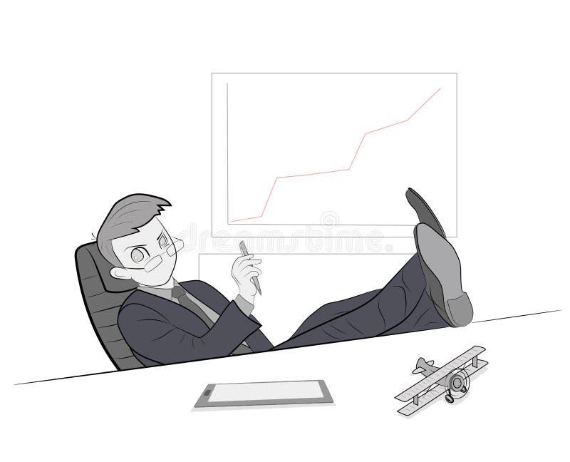 O homem no local de trabalho senta-se jogando seus pés na tabela Resto no trabalho Ilustração do vetor ilustração stock