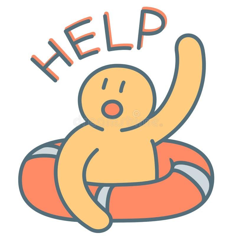 O homem no mar com boia salva-vidas vermelho precisa a ajuda urgente - conceito do vetor ilustração do vetor